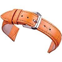 20 mm di colore giallo arancione di vigilanza di cuoio sostituzione cinghie di banda per le donne del grano coccodrillo genuina pelle di vitello