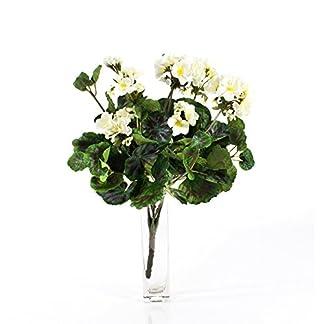 artplants.de Set de 3 x Decorativa Mata de geranios Merle, Crema, 45cm, Ø 25cm – Planta Artificial – Flor sintética