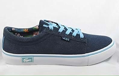 Lacoste Vaultstar sur toile Bleu marine Baskets Sneakers pour homme UK 7.5