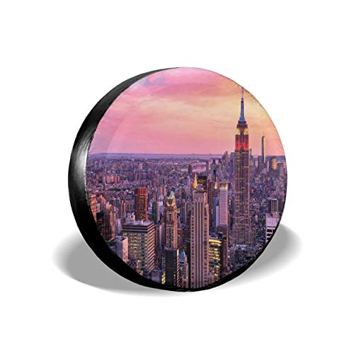 ErwangGo Tire Cover Wheel Covers,New York City Midtown with Empire State Building Sunset Business Center Rooftop Photo,for SUV Truck Camper Travel Trailer Accessories(14,15,16,17 Inch) 17 -