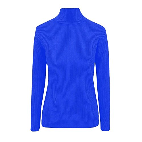 Womens Knitted Ribbed High Polo Neck Long Sleeve Jumper ROYAL BLUE/M-L (UK 12-14) (Strickwaren-kabel)
