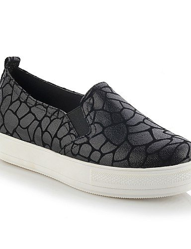 ZQ gyht Scarpe Donna-Mocassini-Casual-Punta arrotondata-Piatto-Finta pelle-Nero / Dorato / Leopardo , black-us2.5 / eu32 / uk1 / cn31 , black-us2.5 / eu32 / uk1 / cn31 leopard-us11 / eu43 / uk9 / cn44
