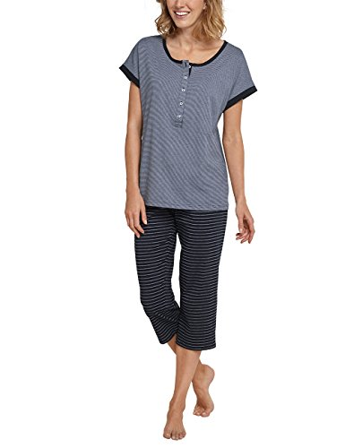 Schiesser Damen Schlafanzughose Anzug 3/4 Lang, Grau (Graphit 207), 40