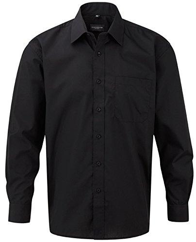 Russell Collection Men's Easy Care Poplin Long Sleeve Shirt Noir