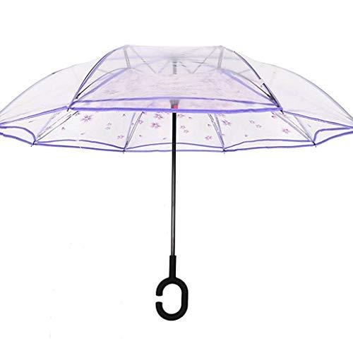 Paraguas Invertido Transparente, Paraguas Plegable, Reversible, con protección contra Rayos UV, con Mango en Forma de C Invertida. Paraguas de Doble Capa a Prueba de Viento (106 cm)