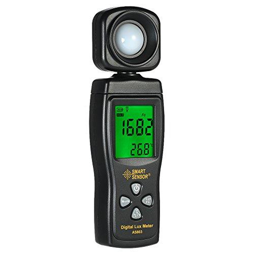 Baugger Medidor de Iluminancia Digital - Medidor Mini Lux Pantalla LCD Iluminómetro de Mano Fotómetro Luxómetro 0-200000 Lux -