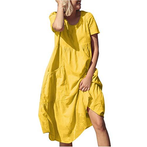 Tohole Damen Kleid Frauen Boho Rundhalsausschnitt beiläufige lose Kaftan Mittelalter Kleidung Boho Kleider Maxikleid Bequemes Kleid mit Tasche Kleid (Gelb,2XL)