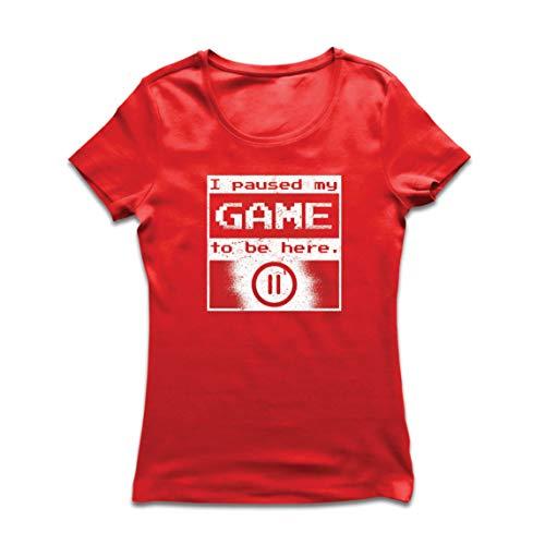 Lepni.me maglietta donna ho messo in pausa il mio gioco per essere qui camicia, regalo divertente giocatore (xx-large rosso