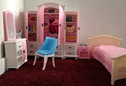 Huaheng Toys Barbie Size Dollhouse Furniture- Bed Room & Wardrobe Set