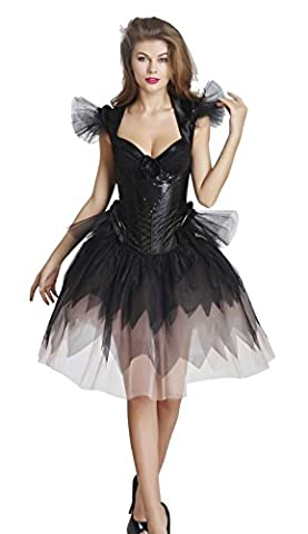 Charmian Women's Gothic Steampunk Satin Sequin Boned Bustier Corset with Skirt Black Small