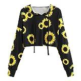MYMYG Damen Sweatshirt Kapuzenpullover Pullover Hoodie Printed Sweatshirt Langarm Pullover Tops Bluse (C1-schwarz,EU:36/CN-M)