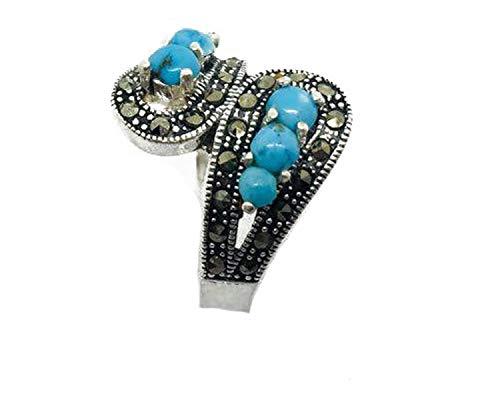 Clickmarket24 Türkis Ring in Sterling Silber 925(Höchster Silbergehalt) Geschenke für Damen und Jugend Modeschmuck in ECHT Naturstein. Anti-Stress Beseitigt Negative Energien