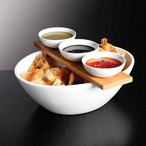 Le'raze Elegantes Set für Chips und Dip-Servierschüssel, Keramik-Gewürz-Auflaufförmchen, elegantes 5-teiliges Servier-Set mit weißen Schalen und Bambus-Tablett Chip Dip Set