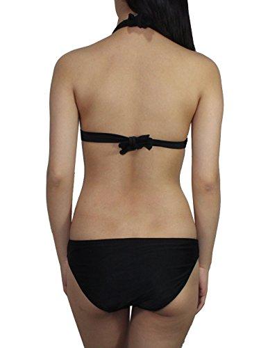 2 PCS SET Damen Mermaid Bikini Top & Bottom Dri-Fit Surf-Badeanzug Schwarz