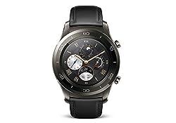 Huawei Watch 2 Classic (Bluetooth) Smartwatch Mit Schwarzem Lederarmband (Nfc, Bluetooth, Wlan, Android Wear™ 2.0) Grau