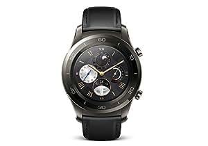 Huawei Watch 2 Classic Smartwatch, 4 GB ROM, Android Wear, Bluetooth, Wifi, Cinturino in pelle nera, Grigio (Titanium Grey)
