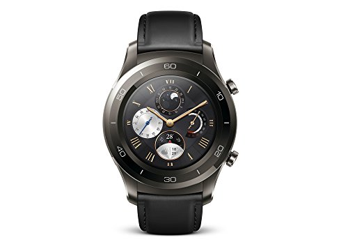 HUAWEI WATCH 2 Classic (Bluetooth) Smartwatch mit schwarzem Lederarmband (NFC, Bluetooth, WLAN, Android Wear™ 2.0) grau