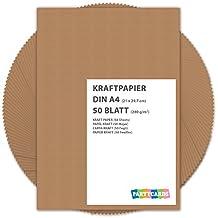 50 fogli di Carta Kraft DIN A4 280 gr/mq Natura in cartone di alta qualità Ideale per FAI DA TE E (DIY) Marrone