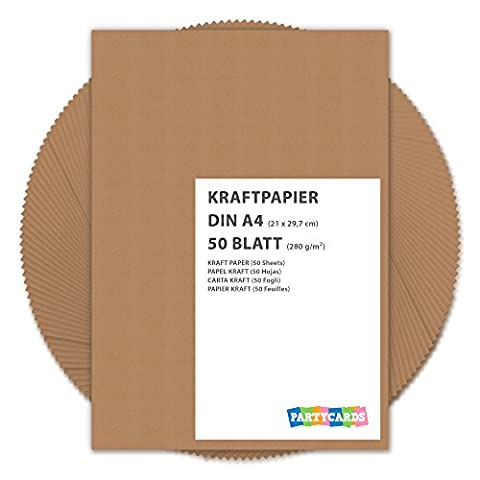 50 Sheets of Kraft Paper / Card A4 280g/m² Quality Cardboard Ideal for Craft and DIY / Brown