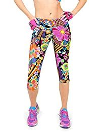 LHWY Women Yoga Pants Colourful Gym Leggings Patterned High Waist Fitness  Printed Cropped 3 4 24d52159e71
