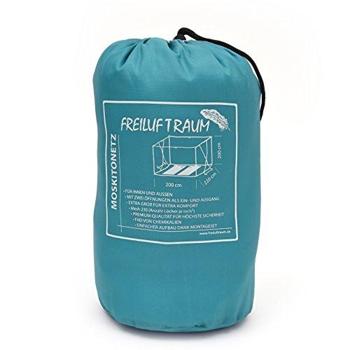Großes Moskitonetz für Doppelbetten 200x220x200cm - vielseitiger Mückenschutz, inklusive Tragebeutel und Montageset (Weiß mit 2 Öffnungen)