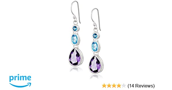 Elements Sterling Silver, Ladies, E4424, Amethyst, Blue Topaz and London Blue Topaz Drop Earring