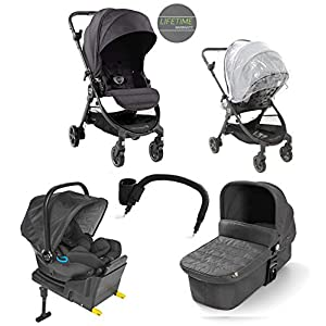 Baby Jogger City Tour LUX Compact Fold Travel System, Includes Reversible Stroller, Carrycot, I-Size Car seat and Iso-fix Base and Accessories Granite Grey   12