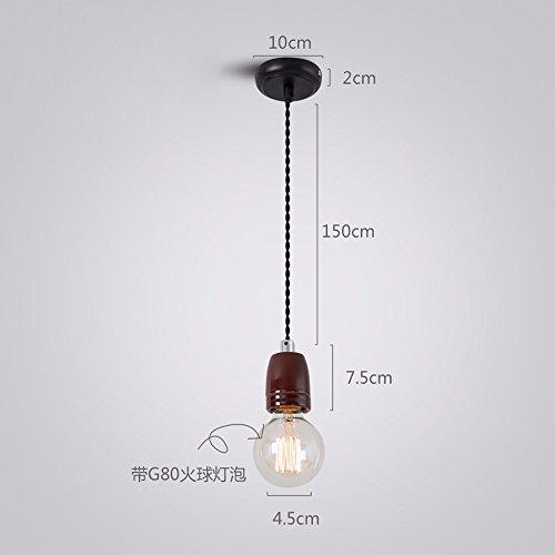 Das LED-Licht zur Decke Pendelleuchte Eisen Jugendstil Emaille Suspension Draht, Porzellan - brauner Zucker