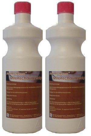 Master Cleaner Nettoyant pour mousse de lait lait Buses Nettoyant concentré 2 * 1 L pour porte-filtre, machines à café capsule et pad Machine