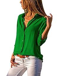 SEWORLD Damen Mode Freizeit Solide Oberteile Bluse Herbst Einzigartig  Frauen Retro Damenmode Chiffon Langarm OL Hemd Beiläufige Lose… cfe249f00f