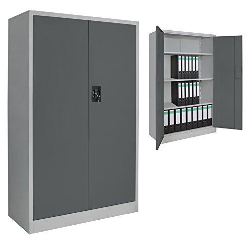 Spind Büroschrank Aktenschrank 140 x 85 x 39 cm Metallschrank Universalschrank mit 3 Einlegeböden, Höhe frei montierbar Ordnerschrank, Farbe:Grau-Dunkelgrau