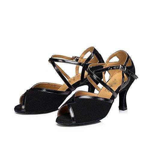 Wgwioo Sandali Donna Salsa Latin Tango Ballroom Heels In Pelle Scamosciata In Pelle Morbida Scarpe Da Ballo Fibbie Nero C