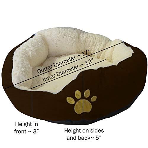 Evelots kleines rundes Haustierkörbchen für Katzen und Hunde,warm,braun - 5