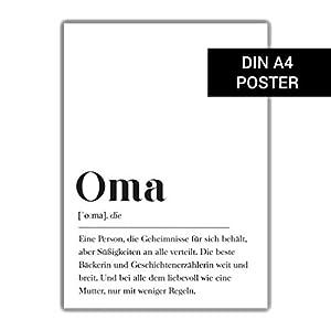 Oma Definition, Geschenk für Großmutter Geburtstagsgeschenk Oma, Plakat Wörterbuch, DIN A4 Geschenk Großeltern Ankündigung erstes Enkelkind
