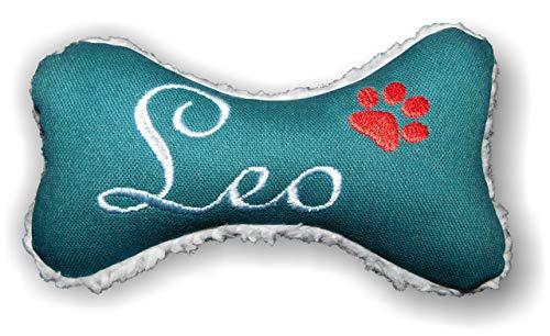 Hunde Spielzeug XXS XS S M L XL XXL Canvas Kissen natürliche Materialien Knochen Hundeknochen Quietscher petrol bestickt Name Wunschname personalisiert persönliches Geschenk -