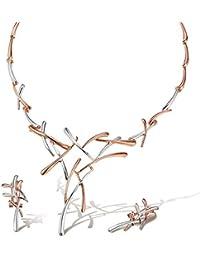 08038eca60f77 Viennois Ensemble de Bijoux Couleur Rose doré Croix Collier et Boucles  d'oreilles Femme