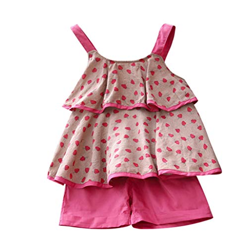 0-24 Monat Kleidung Set Baby Mädchen Kleinkind Baby Toddler Kinder kurzärmeligen 2 Stück Kind Baby Sling Tops + Shorts Sommer Kleidungs Outfits Pwtchenty Bekleidungssets