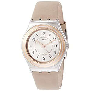 Swatch Womens Analogue Quartz Watch with Leather Strap YLS458