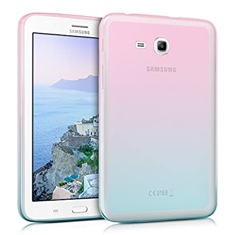 kwmobile Hülle für Samsung Galaxy Tab 3 7.0 Lite - Case Handy Schutzhülle TPU Silikon für Tablet - Backcover Cover klar Pink Blau Transparent