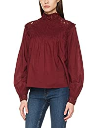 VERO MODA Damen Bluse Vmeialine Ls Lace Mix Top