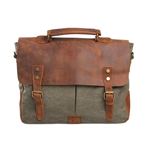 VRIKOO Vintage Genuine Leather Military Canvas 14 Laptop Briefcase Messenger Bag (Coral Green) Verde militare