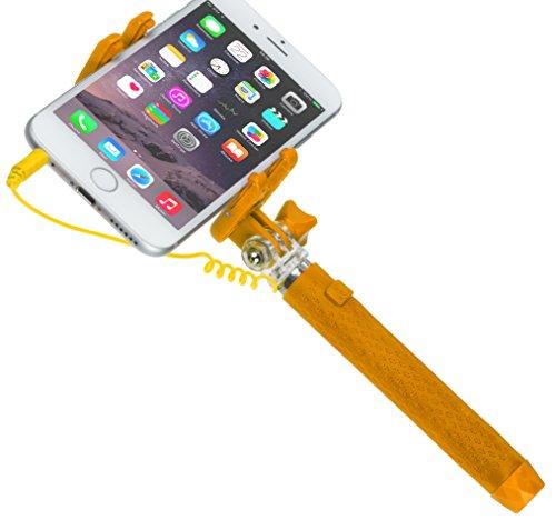 Kitvision Universal Pocket Einbein-Stativ mit Kabelverbindung und Spiegel für Android/Apple Smartphone (63 cm, Breite: 50-70mm) - Orange