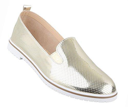 Sapatos Femininos Baixas Sapatilhas Sapatos Casuais Bombas Ouro Negro