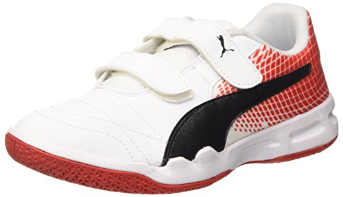 Puma Unisex-Kinder Veloz Indoor NG V Jr Multisport Schuhe, Weiß White Black-Flame Scarlet 05, 36 EU