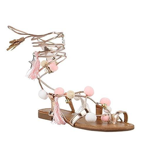 Damen Sandalen Romersandalen Fransen Sommer Zehentrenner Sandale Schaftsandalen Sandalen Stiefel Schuhe 144214 Hellbraun Rose Gold 41