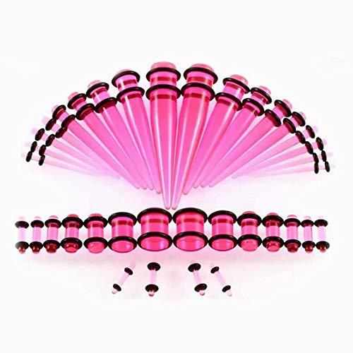 Ouken Acryl Ohr dehnen, verjüngt Sich Kit-Stecker dehnen Set 14 G - 00 G Tunnel Erweiterung Ohr Messgerät Kegel klar Pink für Männer Frauen Ohr Tunnel Messgeräte Expander 36Pcs/Set (Ohr-messgeräte, Größe 10)