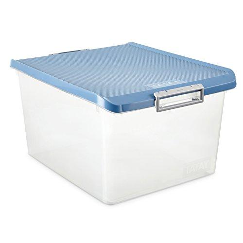 TATAY Caja de Almacenamiento con 35 L de Capacidad, Tapa Color Azul, 37,7 x 47,5 x 26, Pp Libre de Bpa