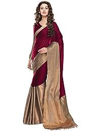 Indian Fashionista Women's Cotton Silk Saree With Unstiched Blouse Piece