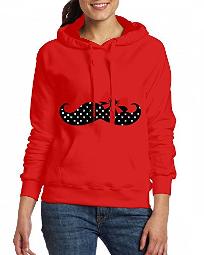 Custom Womens Hooded - Design A mustache with a gift ribbon Hoodies Red