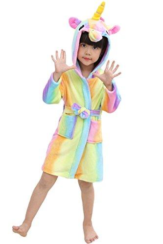 Preisvergleich Produktbild Nicetage Mädchen Bademantel Mit Kapuze Morgenmantel Tiere Schlafanzug Kinder Pyjama Kostüm Yellow Rainbow 130